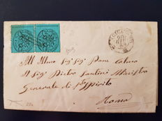 Italy, Papal state, 1869 – 5 centesimi, sky blue pair, on a letter, with certificate, Sassone no. 25c