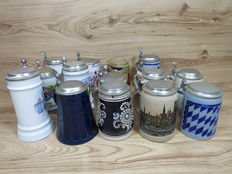 Lot with 14 German old beer mugs with zinc cover