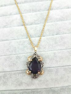 Hand-made necklace with pendant – Amethyst and diamonds – Made in Italy – 1950s