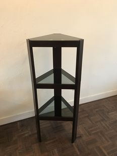 Unknown designer - Three stackable wooden tables with glass table top.