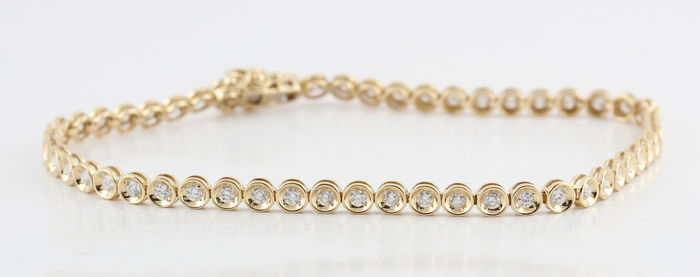 Diamond bracelet total 1.00 ct /6.20gr /  19.50 cm / G/H-VS2-SI2