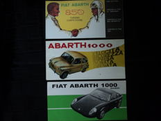 3 Abarth & Fiat Abarth brochures - about 21 cm x 11 cm - 1960s