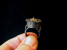 A large Byzantine/Eastern Orthodox enamelled silver ring - with gold-plated ornaments - Eastern Europe - 17th/18th century