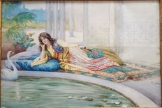 G .Ciro (1858 - 1911) - Poolside at the  Harem