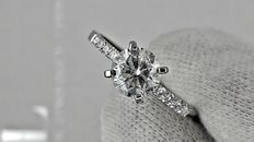 1.12 ct round diamond ring made of 14 kt white gold  *** NO RESERVE PRICE  ***