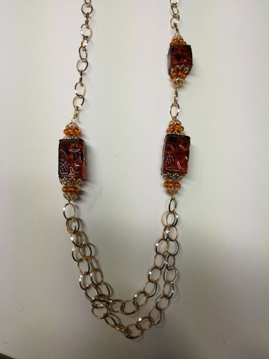 18 kt gold necklace with three amber stones – 72 cm