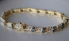 ca. 1950/1960 Vintage attractive bracelet with 32 natural marquise cut Sapphires approx. 2.7Ct.