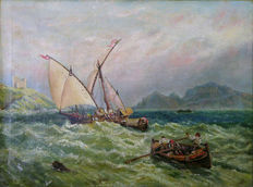 Unknown russian artist - Boats on Sea