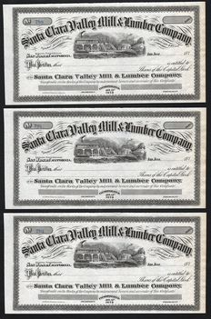 USA (California) - Santa Clara Valley Mill & Lumber Company - 1870s (Lot of 3)