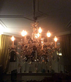 Classic Venetian chandelier with six arms and nine fittings, ca. 1925