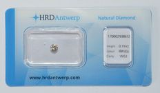 0.19 ct brilliant cut diamond, RW (G), VVS1