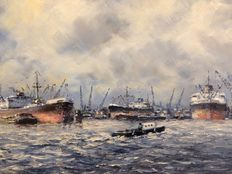 L. L Scheen (1935)- view of the harbour of Rotterdam