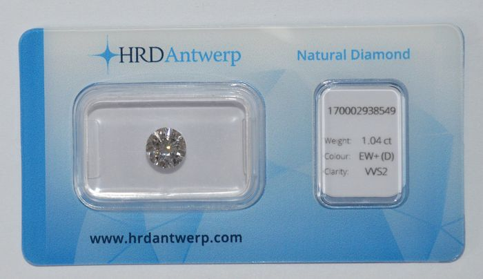 1.04 ct brilliant cut diamond, EW+ (D), VVS2