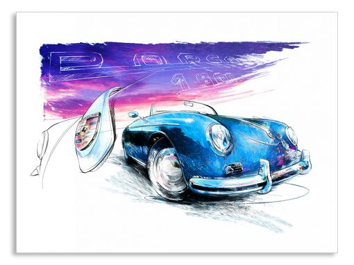 Porsche 356 Speedster (1948) - Giclee Art Poster - Limited Edition of 100 prints