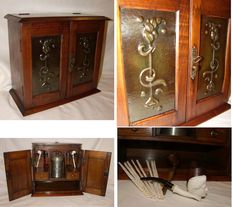 Pipe smokers cabinet, ca 1900 jugendstil.