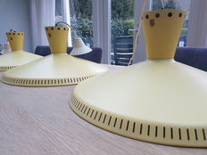 "Louis Kalff by Philips – Pendant light, model ""nb92"" yellow, set of three lamps"