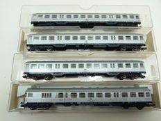 Fleischmann N - 8120/8122 - A 4-piece set Silberlingen carriages of the DB