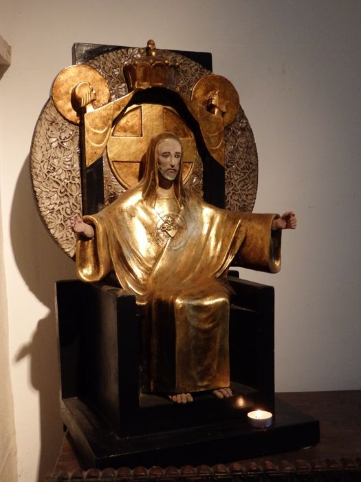 Wonderful large sculpture 'Christ King of the Universe' - Antwerp - circa 1920