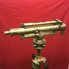 Theodolite with tripod - Brass and wood - 19th century