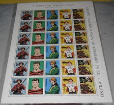 A complete sheet of of 30x stamps, 5 of which depict Tex Willer - (1975)