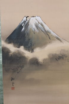 "Original painting on silk ""Mount Fuji"" – Japan – first half of the 20th century"