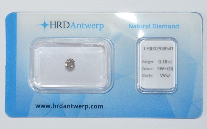 0.18 ct brilliant-cut diamond, EW+(D), VVS2