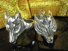 Wolf jewellery - sterling silver ring and pendant