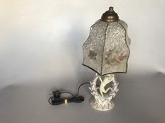 Art Deco porcelain lamp with a figured glass cover