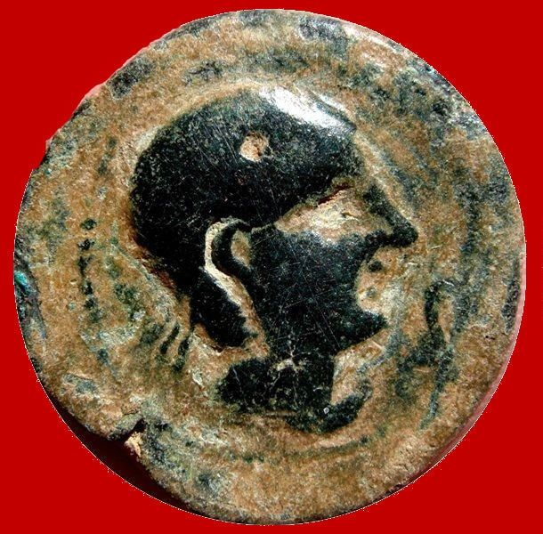 Roman Hispania – Castulo AE, semis (11.60 g, 24 mm), minted in ancient Hispania, Linares (Jaen) in the 2nd century B.C. Bull.