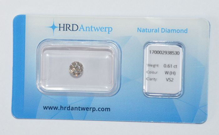 0.61 ct briljant geslepen diamant, W(H), VS2