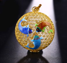 925 Silver Gold Plated enamelled pendant