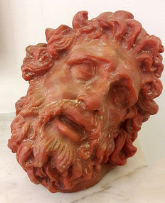 Sculpture of Laocoön in coral red wax and plaster, France, late 20th century