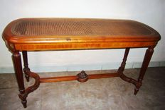 Inlaid cane piano bench