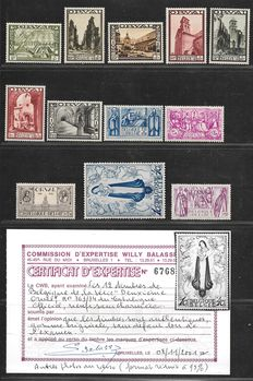 Belgium 1933 - Large Orval - OBP 363/374 with photo certificate of Willy Balasse