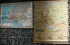 2 Physical and political Maps of Europe cm. 122x92 and cm. 146 x 114- 1960s/1970s