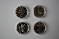 Spain - 10 Euro 2004, 2005, 2006 & 2007 (lot of 4 coins) - Silver