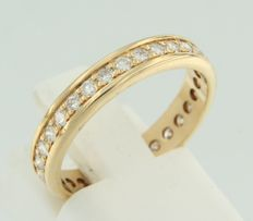 14 kt yellow gold ring set with 30 brilliant cut diamonds, ring size 17 (53)
