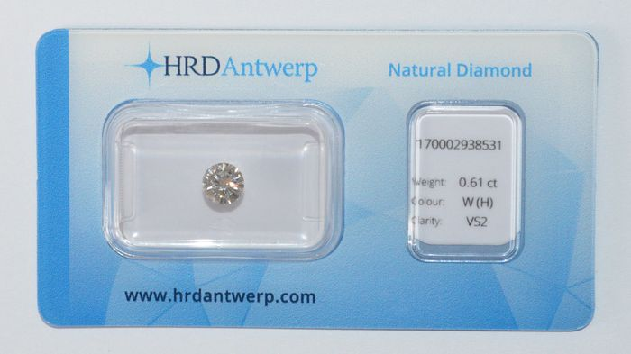 0.61 ct brilliant cut diamond, W(H), VS2