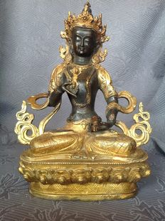 Bronze Vajrasattva decorated with Buddhist depictions – Nepal – end 20th / early 21st century