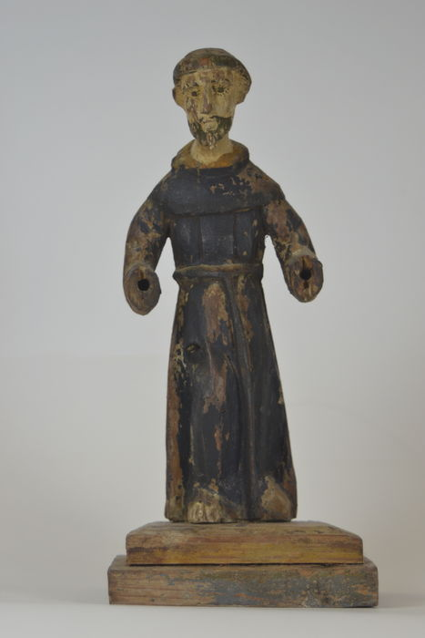 Polychrome Wooden Statue Of The Saint Francis Of Assisi 18th