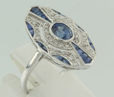 May 14 kt white gold ring in Art Deco style set with sapphire and diamond ****No reserve****