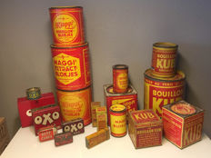 Antique Maggi, OXO and KUB tins for broth - from early to late 20th century.