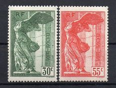 France 1938 - Victory of Samothrace - Yvert No. 354/355.