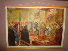 """Nice old intact school plates on linen from Isings titled """"Charles V waives the Government 1555"""" and """"Luther at Reichstag in Worms, 1521"""""""