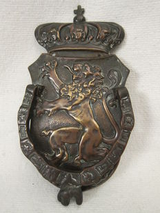 Rare Door Knocker crowned Dutch lion in shield, 2nd half of 19th century, Netherlands