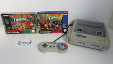 Super Nintendo console with controller & Donkey Kong Country 1 & 2