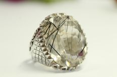 Silver men's ring set with natural rutile quartz 30 ct