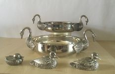 French serving dish vintage paté chiller silver plated duck shaped & Silea vintage silver plated duck salt & pepper shaker set and souse plate