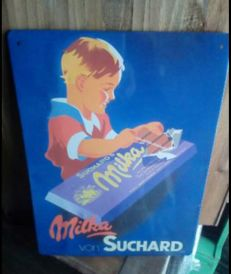 Enameled metal plaque Suchard Milka Chocolates - period end 20th/beginning 21th century.