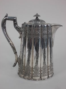 Rare and beautiful Victorian hot water teapot in Antique Silver marked W.G.C., approx.1880